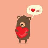 华伦泰` s与拿着心脏的逗人喜爱的动画片熊的天卡片 免版税库存照片