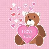 华伦泰` s与玩具熊和心脏的天卡片 免版税图库摄影