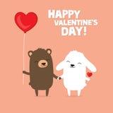 华伦泰` s与逗人喜爱的动画片熊和握手的小兔的天卡片 库存照片