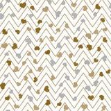 华伦泰` s天与之字形线和金心脏的贺卡 向量 库存例证