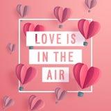 华伦泰` s天与心形的空气baloons的邀请卡片 免版税图库摄影