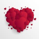 华伦泰` s天与被削减的纸心脏的摘要背景 向量 免版税库存图片