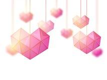 华伦泰` s天庆祝的Origami心脏 免版税库存照片