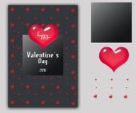 华伦泰` s天心脏标志礼品券 爱和感觉背景设计 也corel凹道例证向量 免版税库存照片