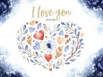 华伦泰` s天或婚礼设计的美好的花卉爱心脏形状 水彩春天美丽的花装饰 库存图片