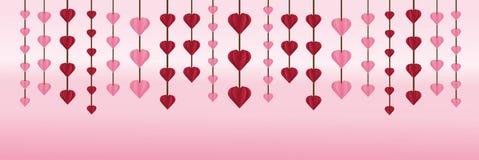华伦泰` s天是垂悬在墙纸的心脏 库存照片