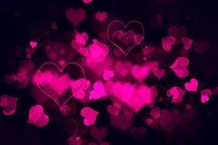 华伦泰` s天桃红色心脏背景 库存照片