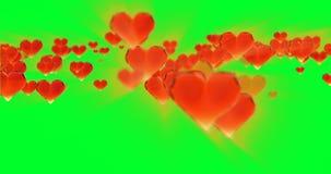 华伦泰` s天生日摘要背景,在绿色的飞行的切好的玻璃心脏 Loopable 4k 3d翻译 影视素材