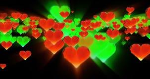 华伦泰` s天生日摘要背景,在黑色的飞行的切好的玻璃心脏 Loopable 4k 3d翻译 影视素材