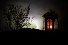 华伦泰` s天装饰概念 浪漫场面 大灯笼当有上升的月亮的恋人房子在夜装饰背景 有选择性的f 库存照片