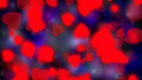 华伦泰` s天,婚姻的抽象背景,飞行的红色心脏 爱的标志和婚礼 红色闪烁背景 向量例证