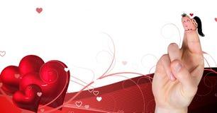 华伦泰` s手指爱夫妇和心脏浪漫设计 免版税库存图片