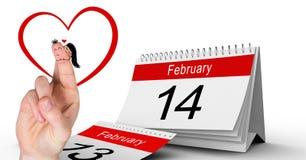 华伦泰` s手指爱夫妇和2月14日日历 免版税库存照片