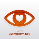 华伦泰` s标志 与心脏的眼睛在学生 免版税库存图片