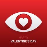 华伦泰` s标志 与心脏的眼睛在学生 图库摄影