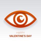 华伦泰` s标志 与心脏的眼睛在学生 库存照片