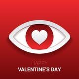 华伦泰` s标志 与心脏的眼睛在学生 免版税图库摄影