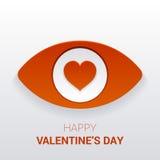 华伦泰` s标志 与心脏的眼睛在学生 免版税库存照片