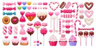 华伦泰` s被设置的天甜点 被分类的糖果 库存例证
