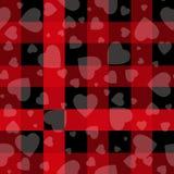 华伦泰s天行家样式格子呢和水牛城检查格子花呢披肩传染媒介仿造黑色和红心,样式包括的瓦片样片 库存例证