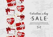 华伦泰s天销售 与礼物盒和五彩纸屑的具体背景 向量 库存图片