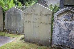 华兹华斯坟墓在Grasmere,英国 免版税库存图片