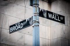 华尔街和宽敞的大街标志 免版税库存图片