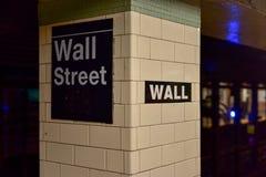 华尔街地铁站,纽约 免版税库存图片