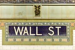 华尔街地铁站,纽约 库存照片