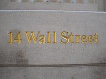 14华尔街标志,纽约 库存图片