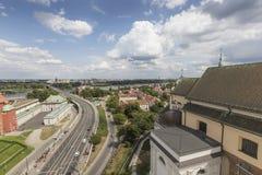 华沙、波兰-从劳动人民文化宫的观察台的7月09日, 2015视图和科学 免版税库存照片
