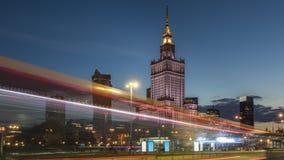 华沙中心夜视图  库存图片