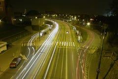 华沙在夜之前 库存图片