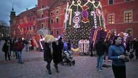 华沙在皇家城堡的圣诞树 影视素材