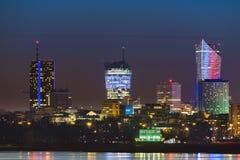 华沙地平线夜全景  库存图片