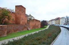 华沙外堡外部街道视图在华沙,波兰 免版税库存图片