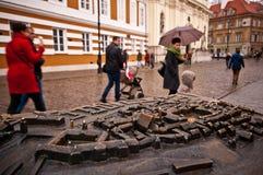 华沙市模型  免版税库存照片