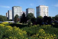 华沙是华沙在垂悬的河的右边更换在GocÅ 'aw庄园的春天 库存图片