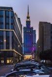 华沙的中心在晚上 库存照片