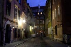 华沙老城镇晚上视图  图库摄影