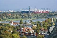 华沙老镇和Mariensztat全景,波兰 免版税库存图片