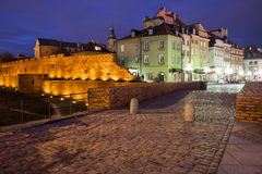 华沙耶路撒冷旧城地平线在夜之前在波兰 免版税库存照片