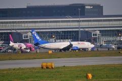华沙肖邦机场视图 免版税库存照片