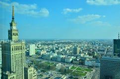 华沙街市全景视图 库存照片