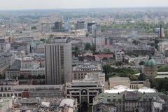 华沙风景从劳动人民文化宫的阳台的 免版税图库摄影