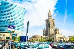 """华沙,波兰†""""2017年5月06日:华沙全景有现代摩天大楼的在一个晴天 免版税库存照片"""