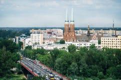华沙,波兰都市风景鸟瞰图  库存照片