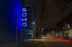 华沙,波兰,欧洲,地区12月2018年,苏豪区在有苏豪区标志的普拉加 库存图片