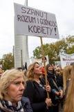 华沙,波兰, 2016 10 01 -抗议反对反对堕胎法律f 免版税图库摄影