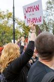 华沙,波兰, 2016 10 01 -抗议反对反对堕胎法律f 免版税库存照片